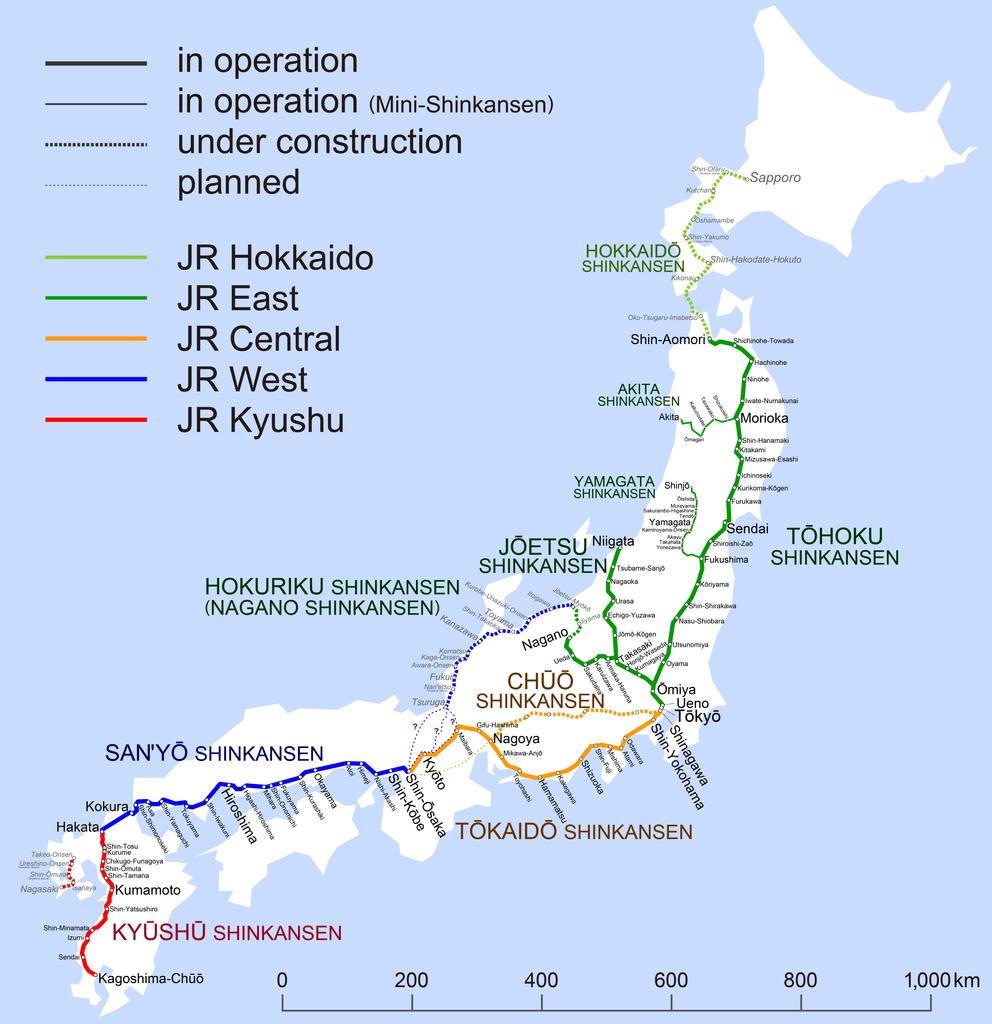 Mapa Shinkansen do Japao