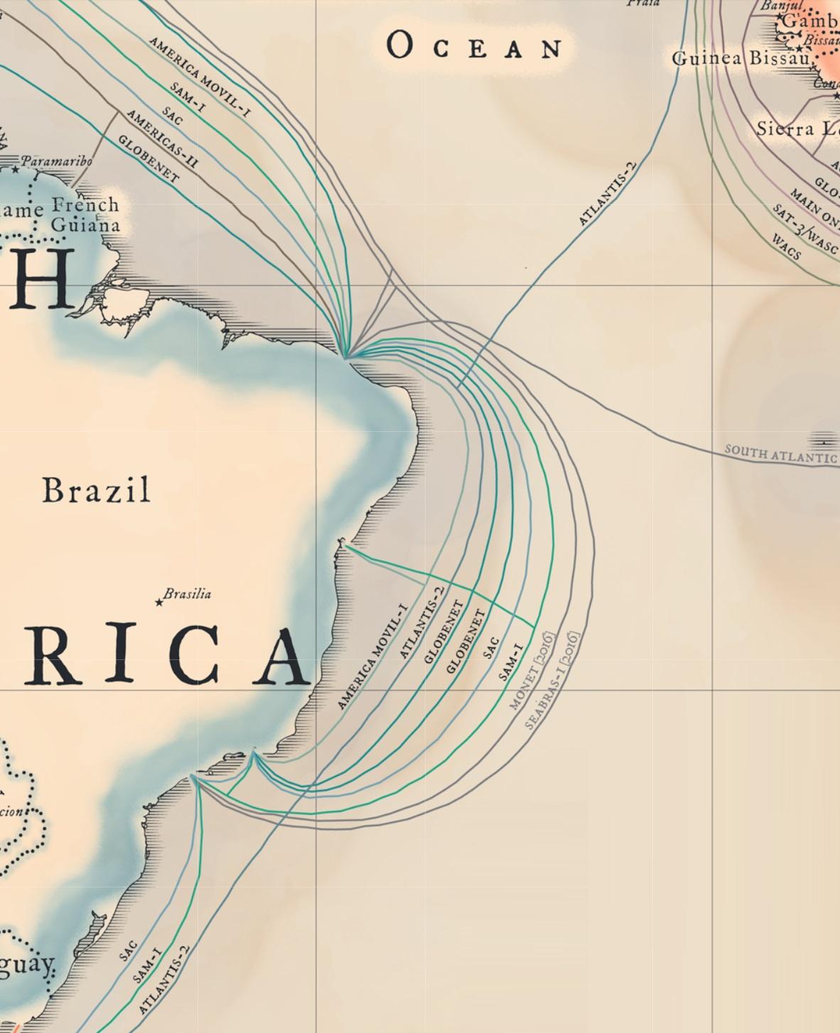 Mapa TeleGeography 2015 - Brasil