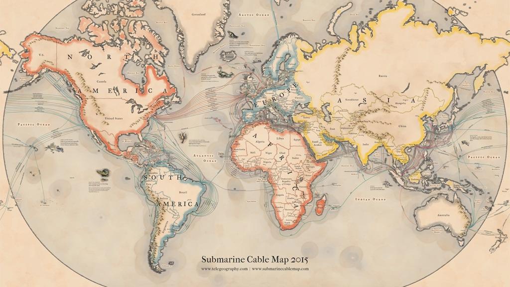 Este mapa mostra como a internet viaja pelo Brasil e pelo mundo através dos oceanos