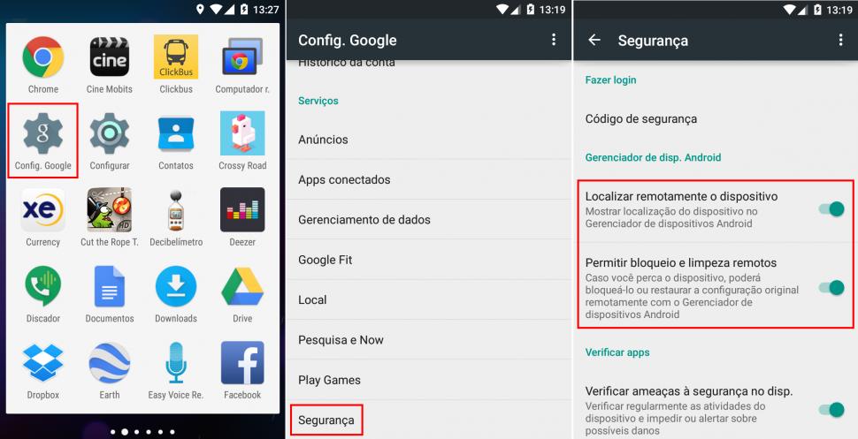 Ativar gerenciador de dispositivos no Android
