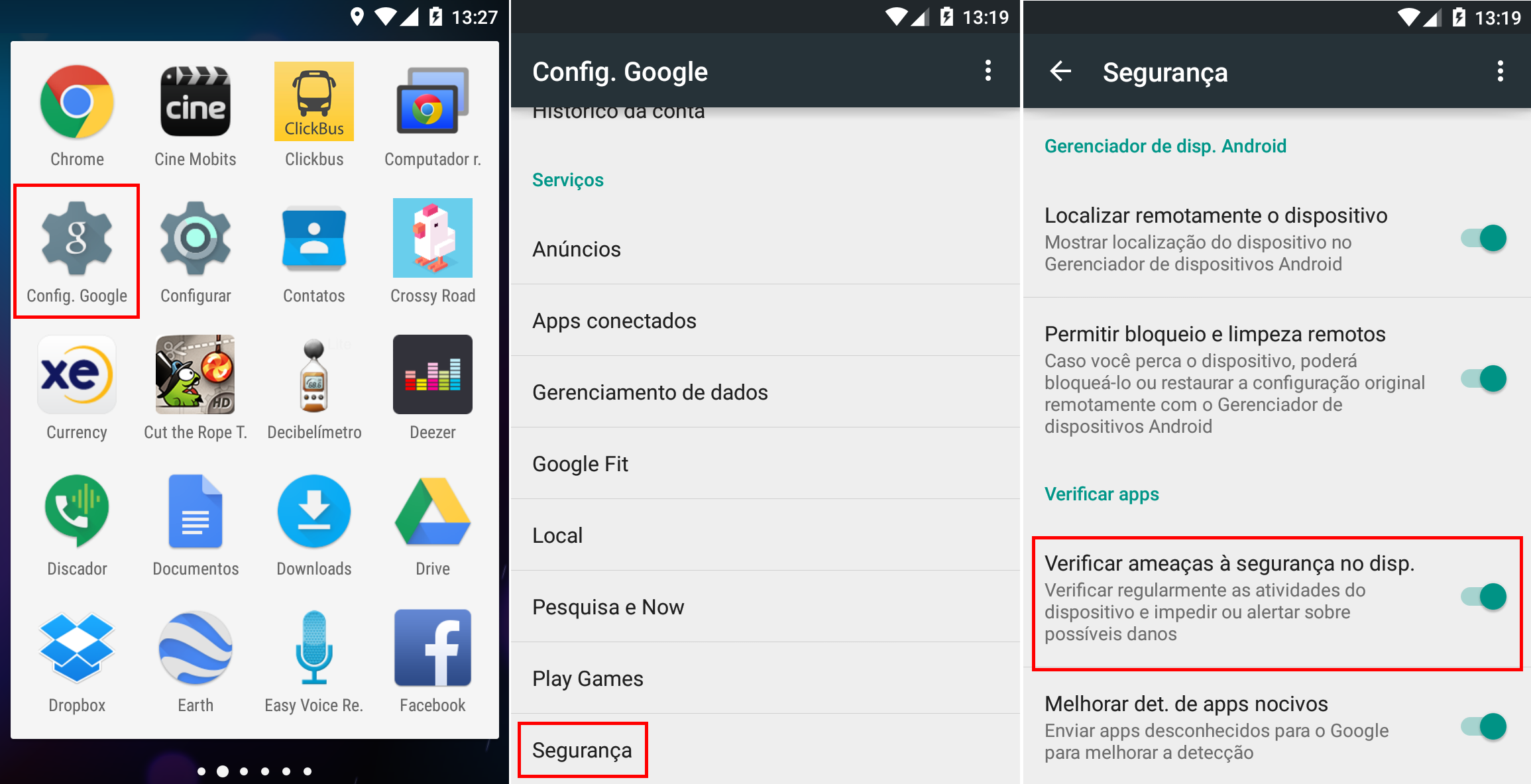 Ativar verificacao de apps no Android