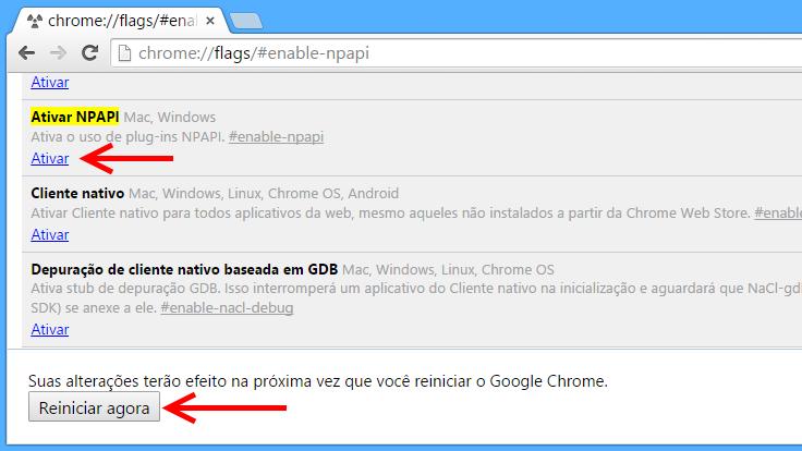 Chrome - reativar plugins