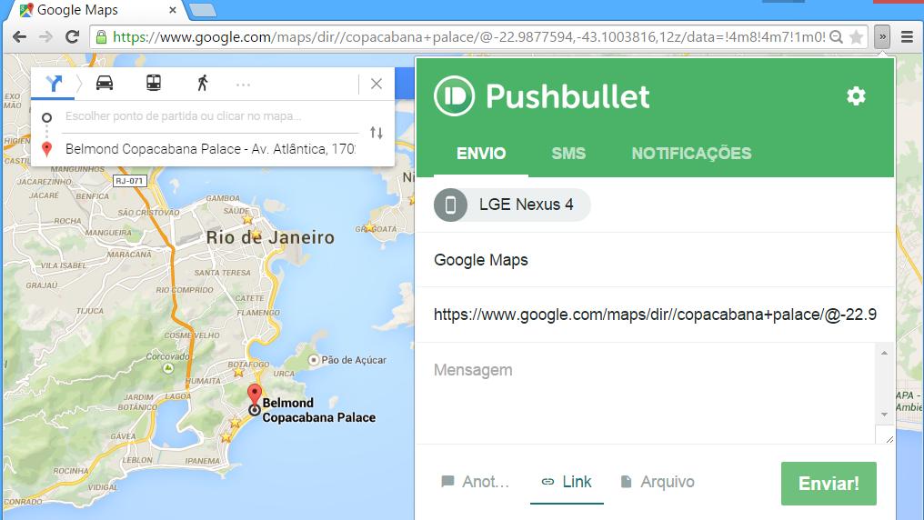 Direcoes com Pushbullet