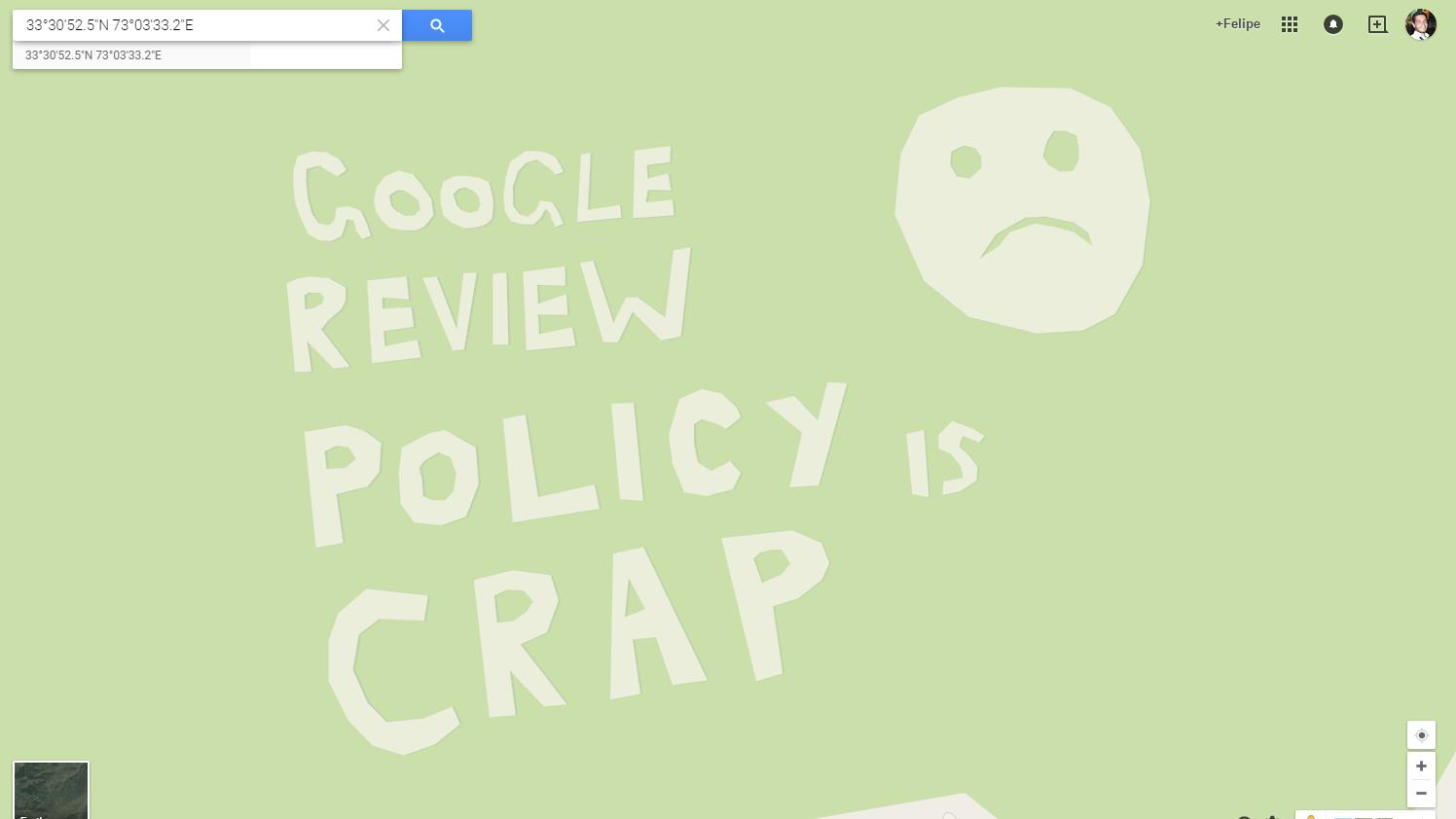 Mapa com critica ao Google