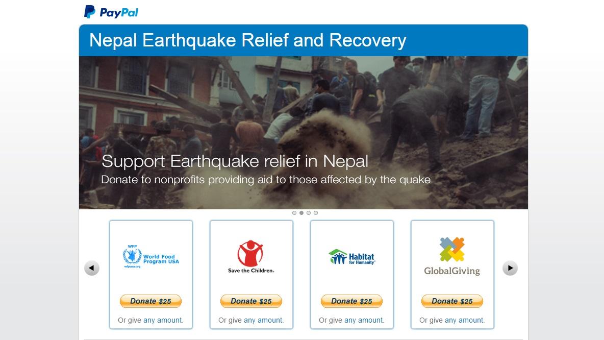 PayPal e doacao para Nepal