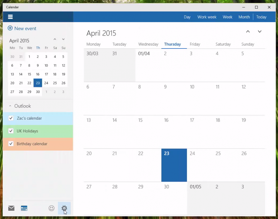 Windows 10 build 10061 - Calendario