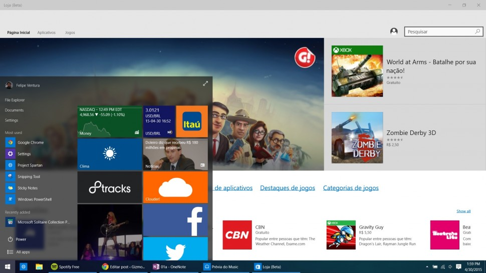 Windows 10 na Build - menu Iniciar transparente