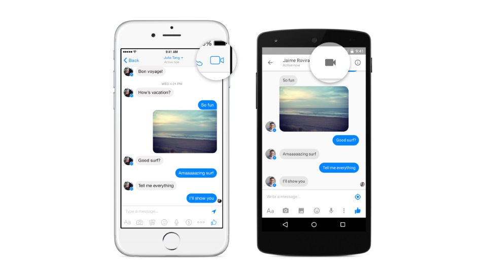 Chamadas de vídeo no Facebook Messenger