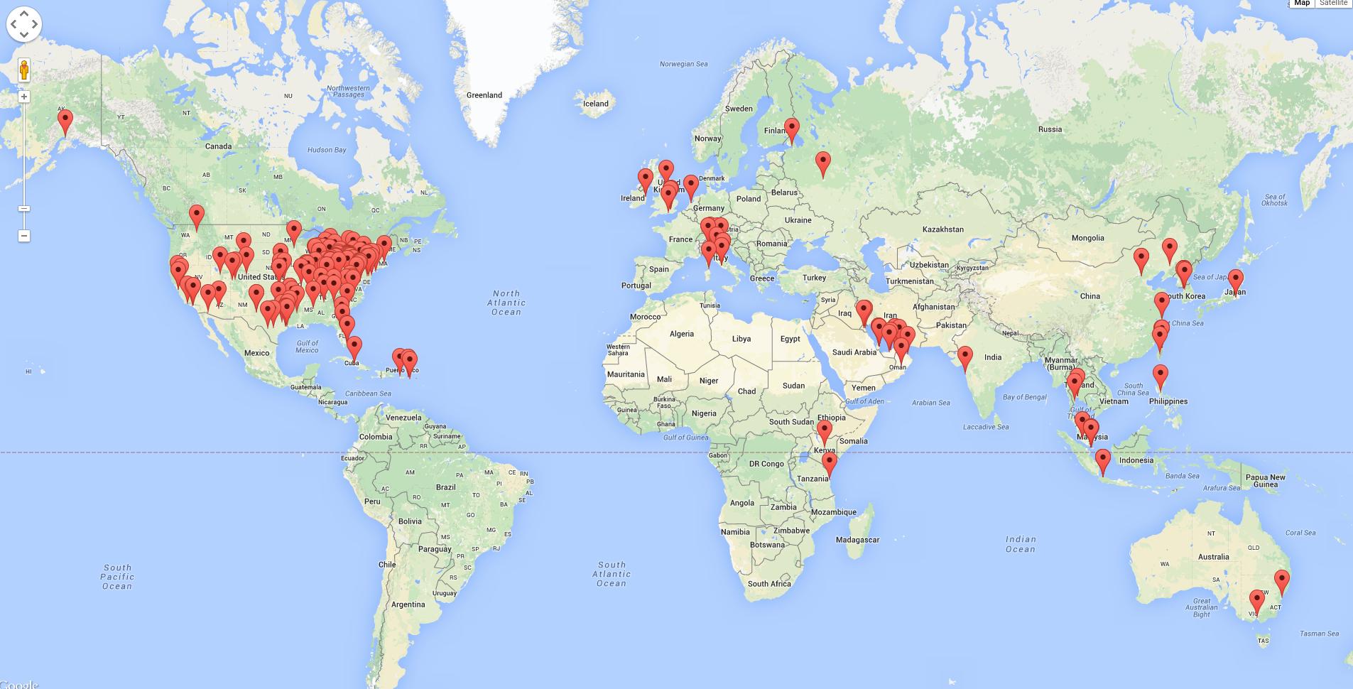 Mapa mostra equipamentos mais facilmente hackeáveis em hotéis do mundo.