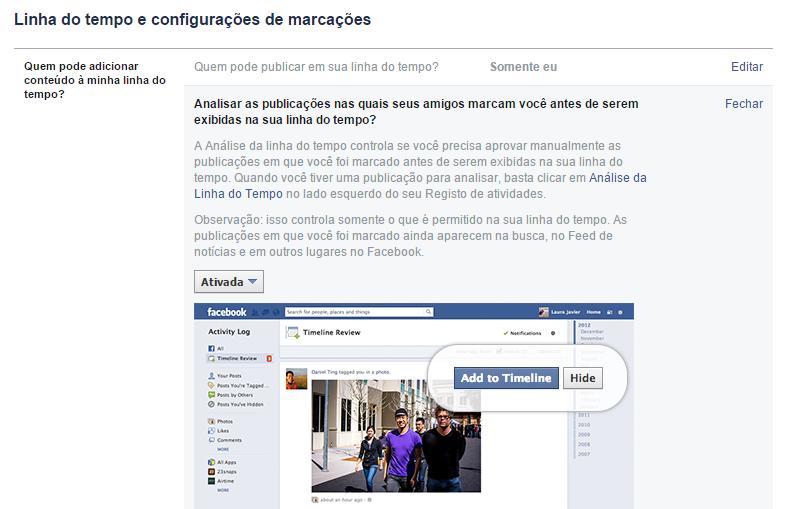 Opções de privacidade no Facebook