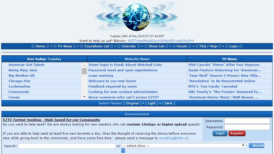 EZTV, conhecido site com torrents para séries, é tomado por