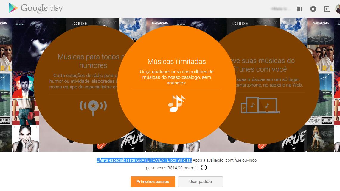 Google Play Musica Acesso Ilimitado - promocao