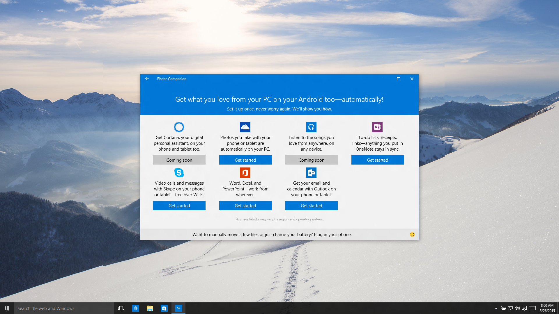 Phone Companion da Microsoft