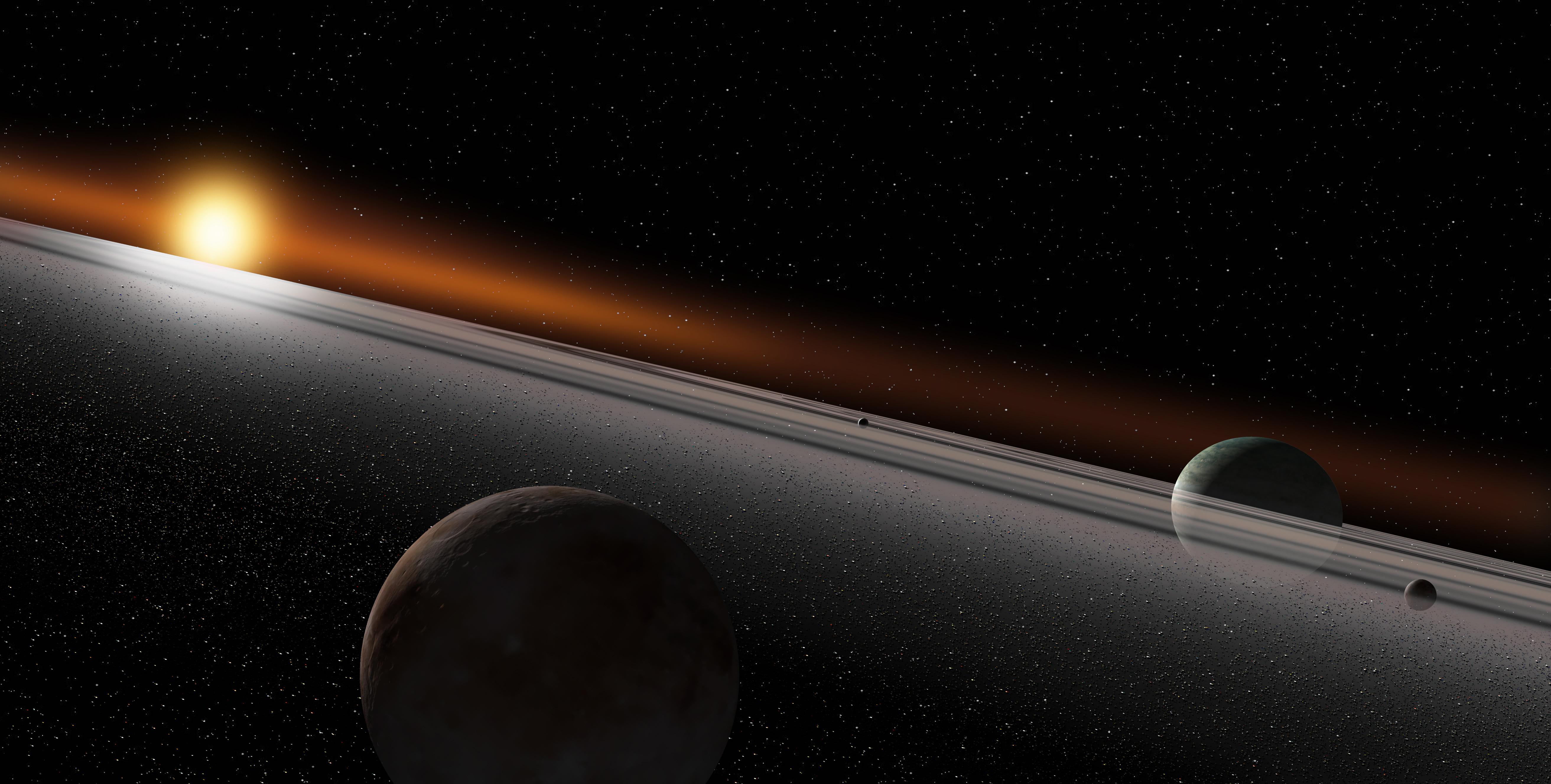 Exoplaneta com aneis. Imagem: Ron Miller/NASAblueshift