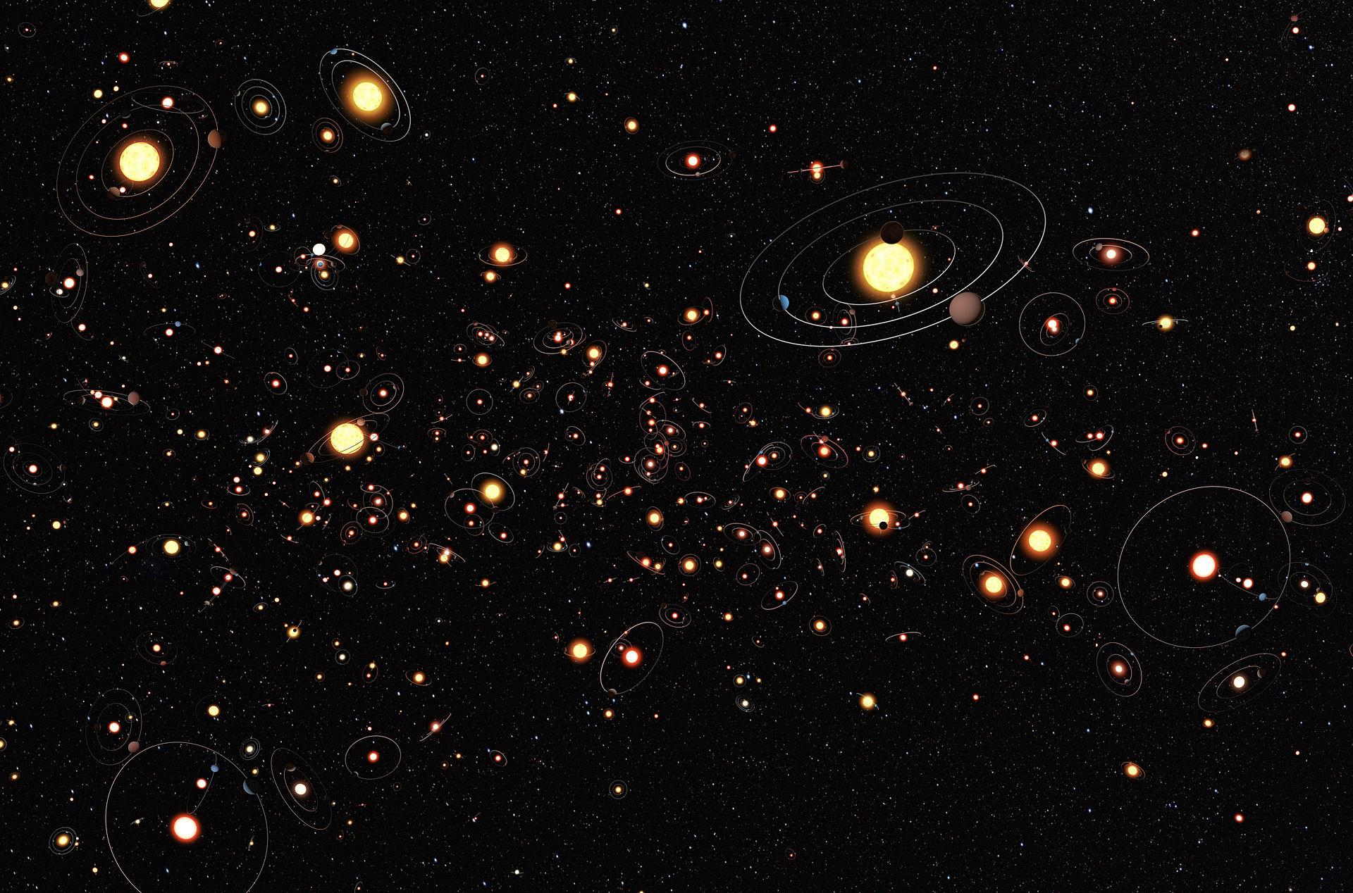 Conceito artístico de planetas ao redor de estrelas na Via Láctea. Crédito da imagem: ESO/M. Kornmesser