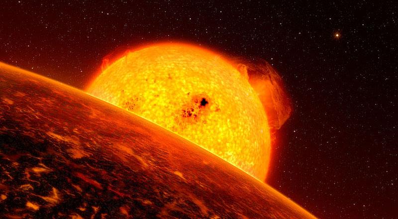 Conceito artístico de Corot-7b, um possível planeta de lava. Imagem: ESO/L. Calcada
