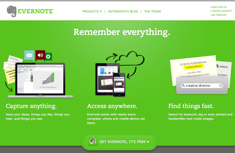 Evernote em 2012