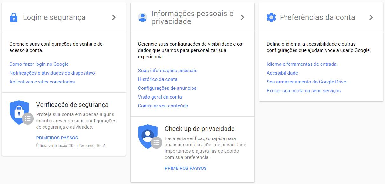 Google - interface do minha conta