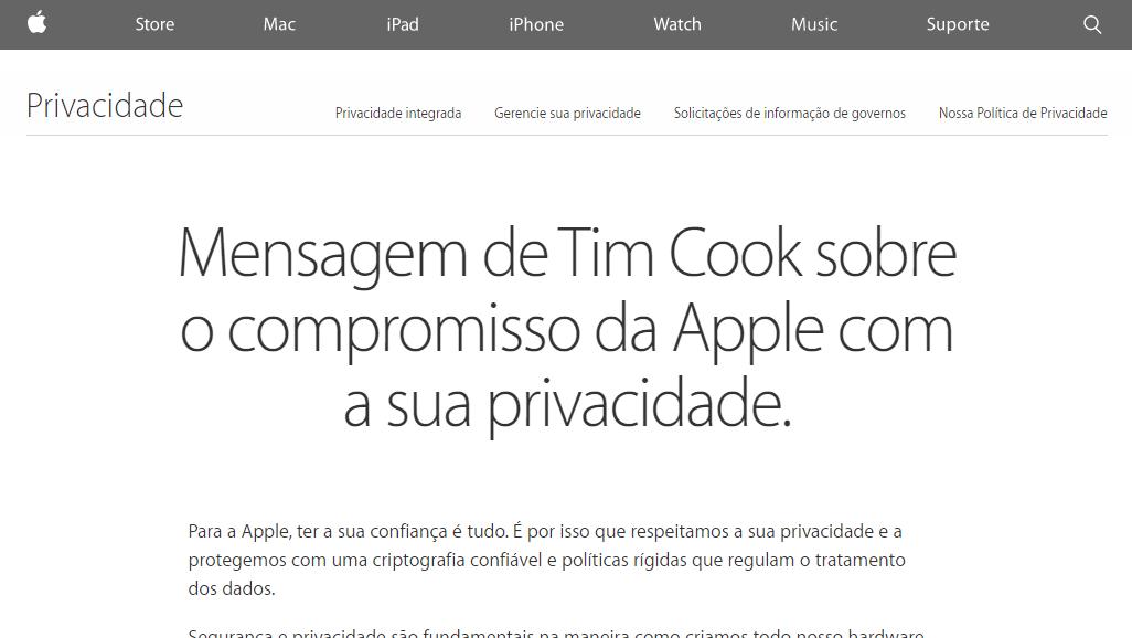 Mensagem de Tim Cook sobre privacidade