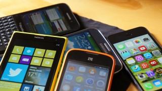 Smartphones empilhados