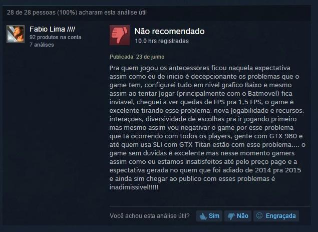 Review de Batman: Arkham Knight no Steam