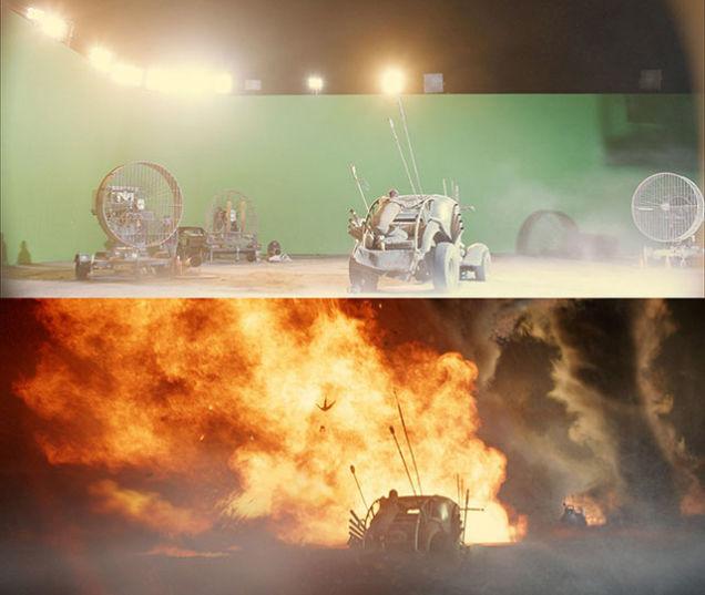 Imagens mostram o antes e o depois dos efeitos especiais de Mad Max: Estrada da Fúria.