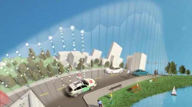 Aclima e carro do Street View