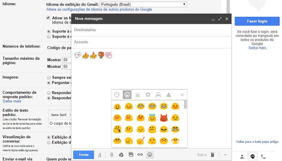 Gmail - emoji nos emails