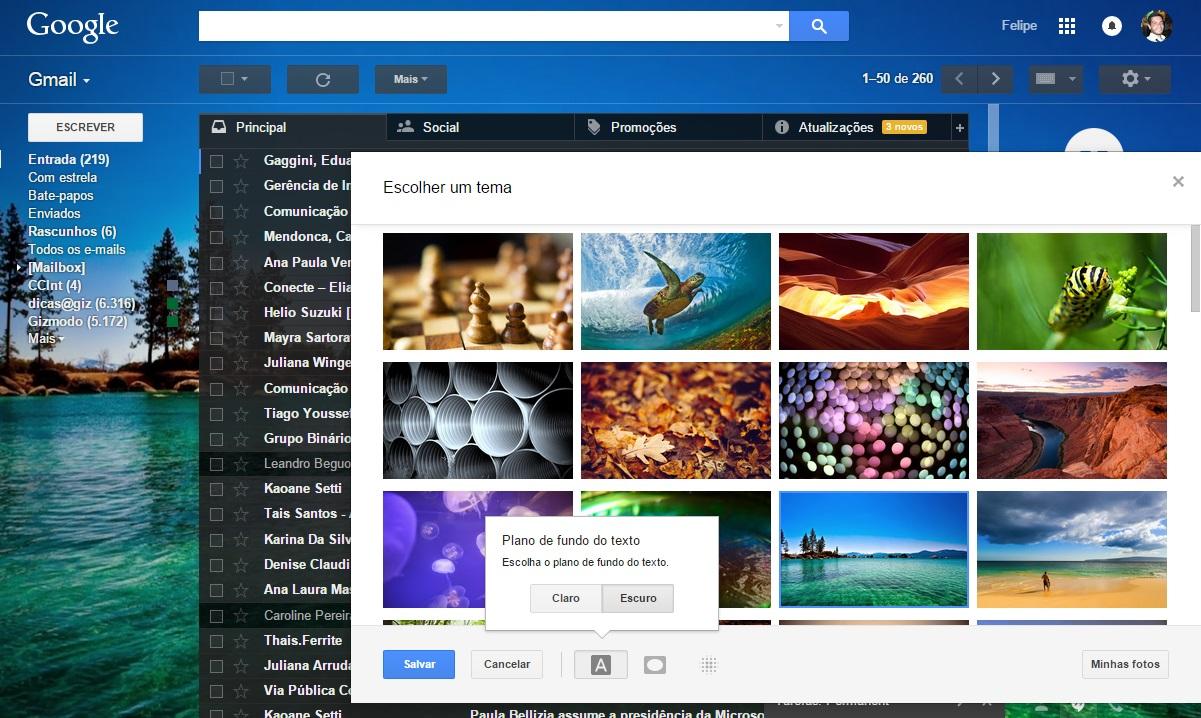 Gmail - temas e plano de fundo
