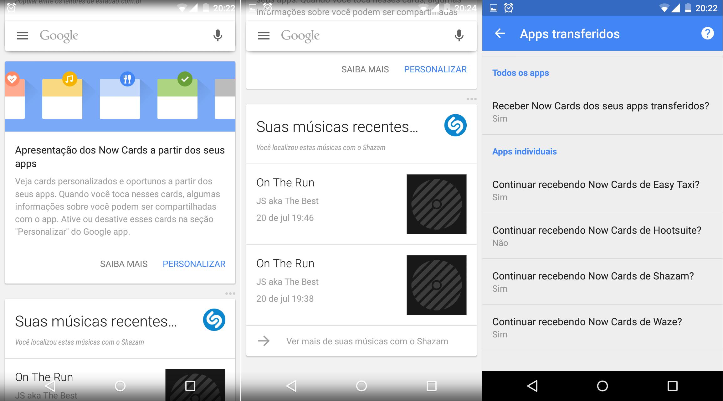 Google Now e cards de terceiros no Brasil