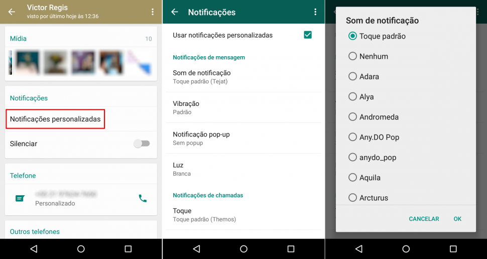 WhatsApp e notificacoes personalizadas