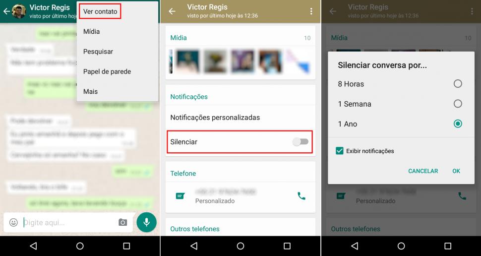 WhatsApp e silenciar