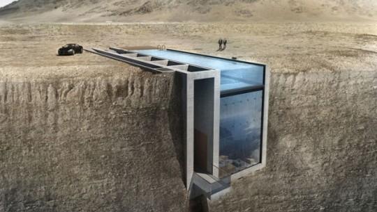 Uma casa escondida em um penhasco