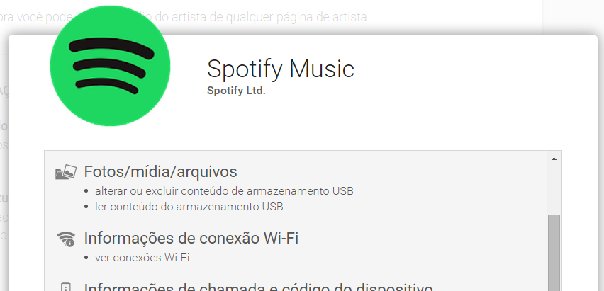 Spotify e permissoes