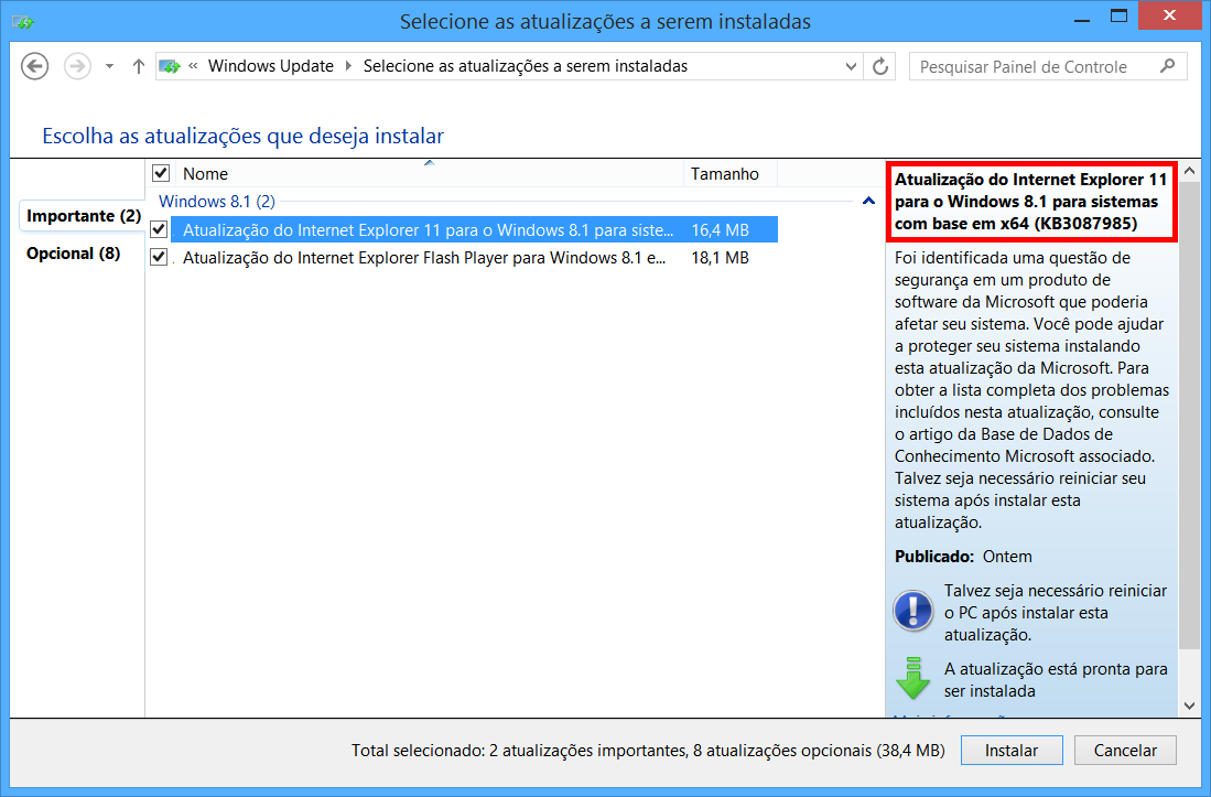 Windows Update e KB3087985