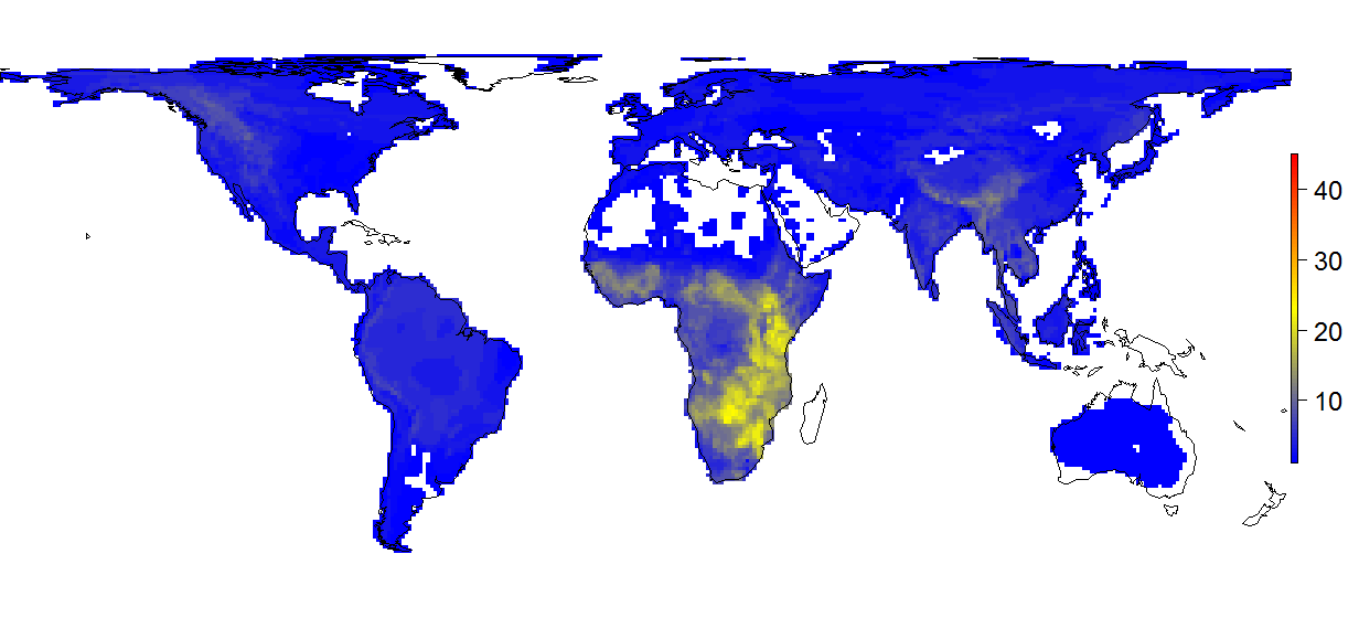 Mapa de espécies de mamíferos no mundo