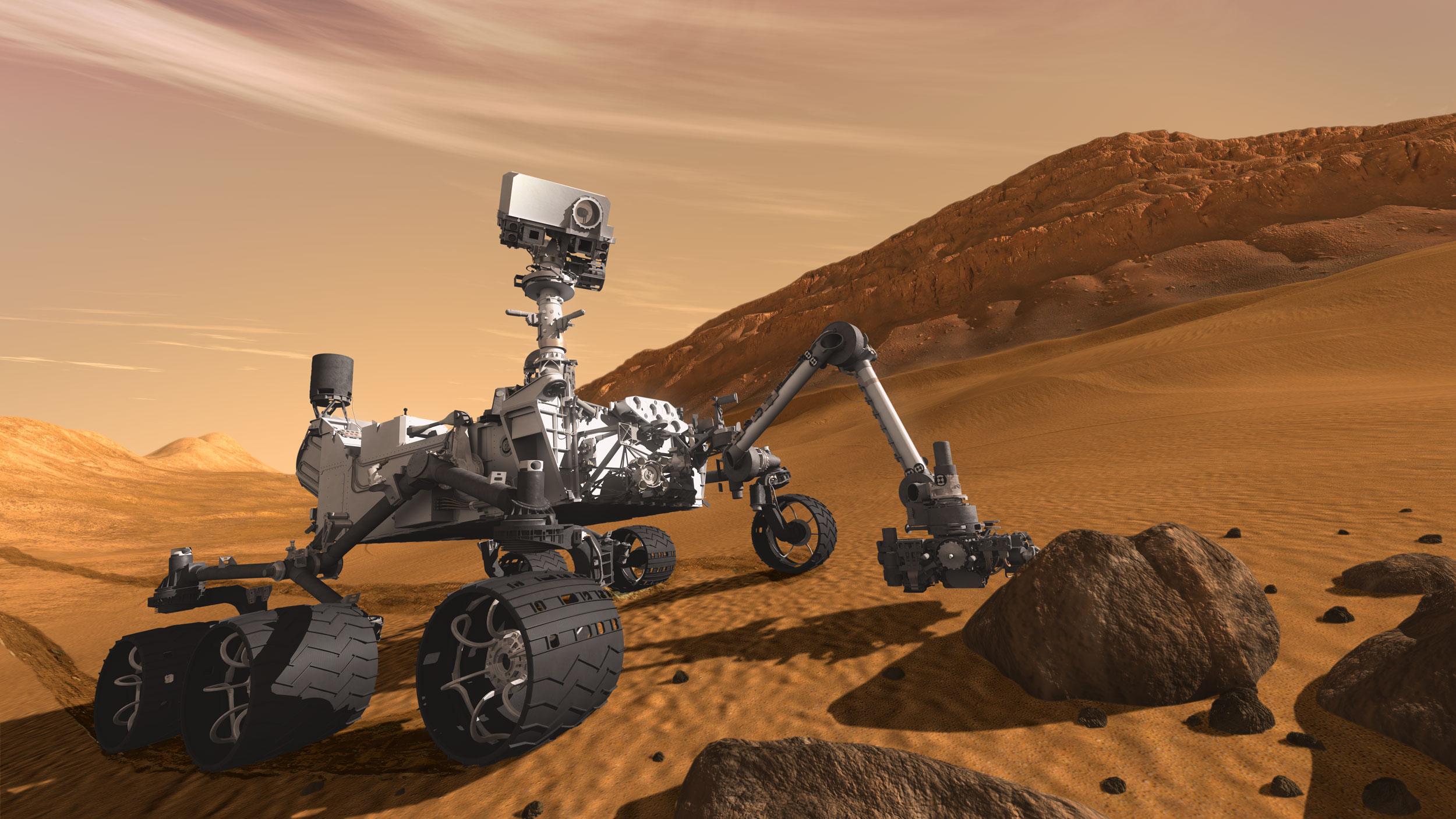 A sonda Curiosity está realizando um trabalho científico em Marte, coletando dados que serão fundamentais para o desenvolvimento do projeto. Imagem via NASA.