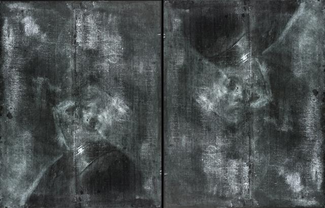 Radiografias da obra 'Homem velho em traje militar'. A imagem à direita está invertida para ilustrar a figura escondida.