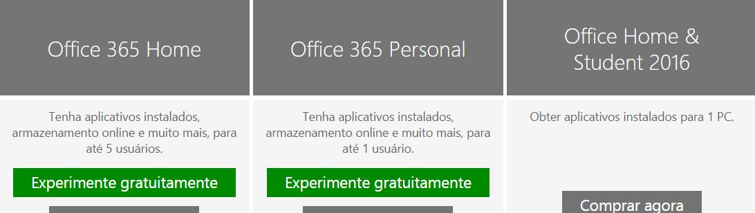 Office 2016 - versoes