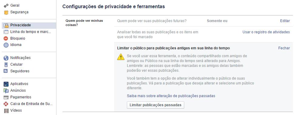 Facebook - limitar publicacoes passadas