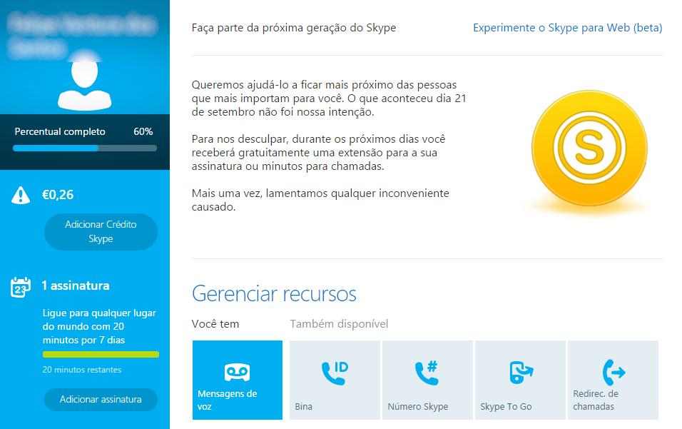 Minutos gratis no Skype