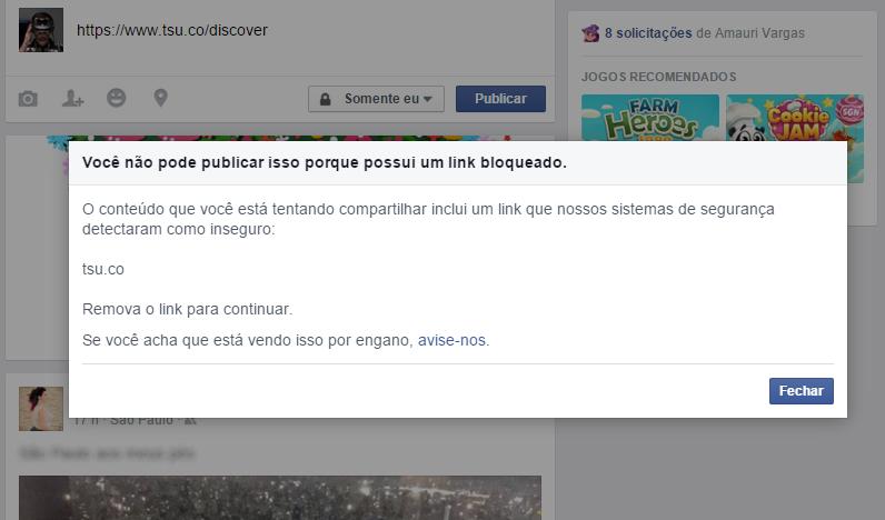 Tsu bloqueado no Facebook