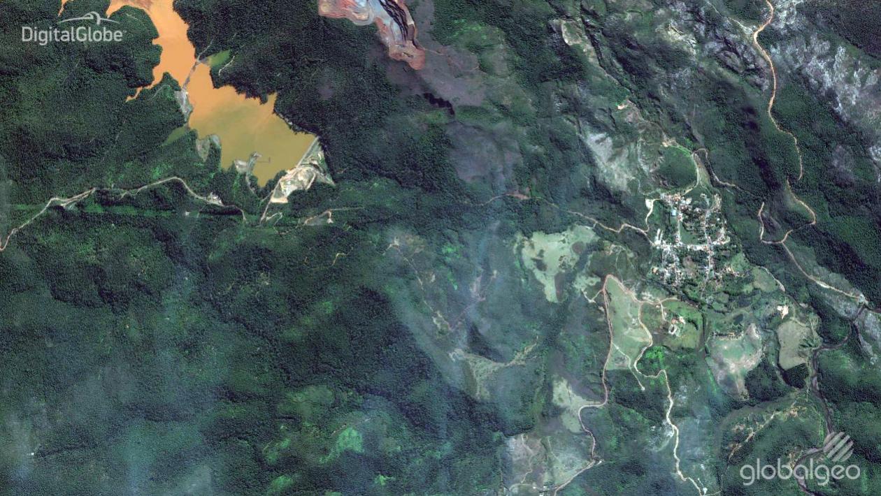 Imagens de satélite mostram antes e depois de queda de barragens em Mariana (MG)
