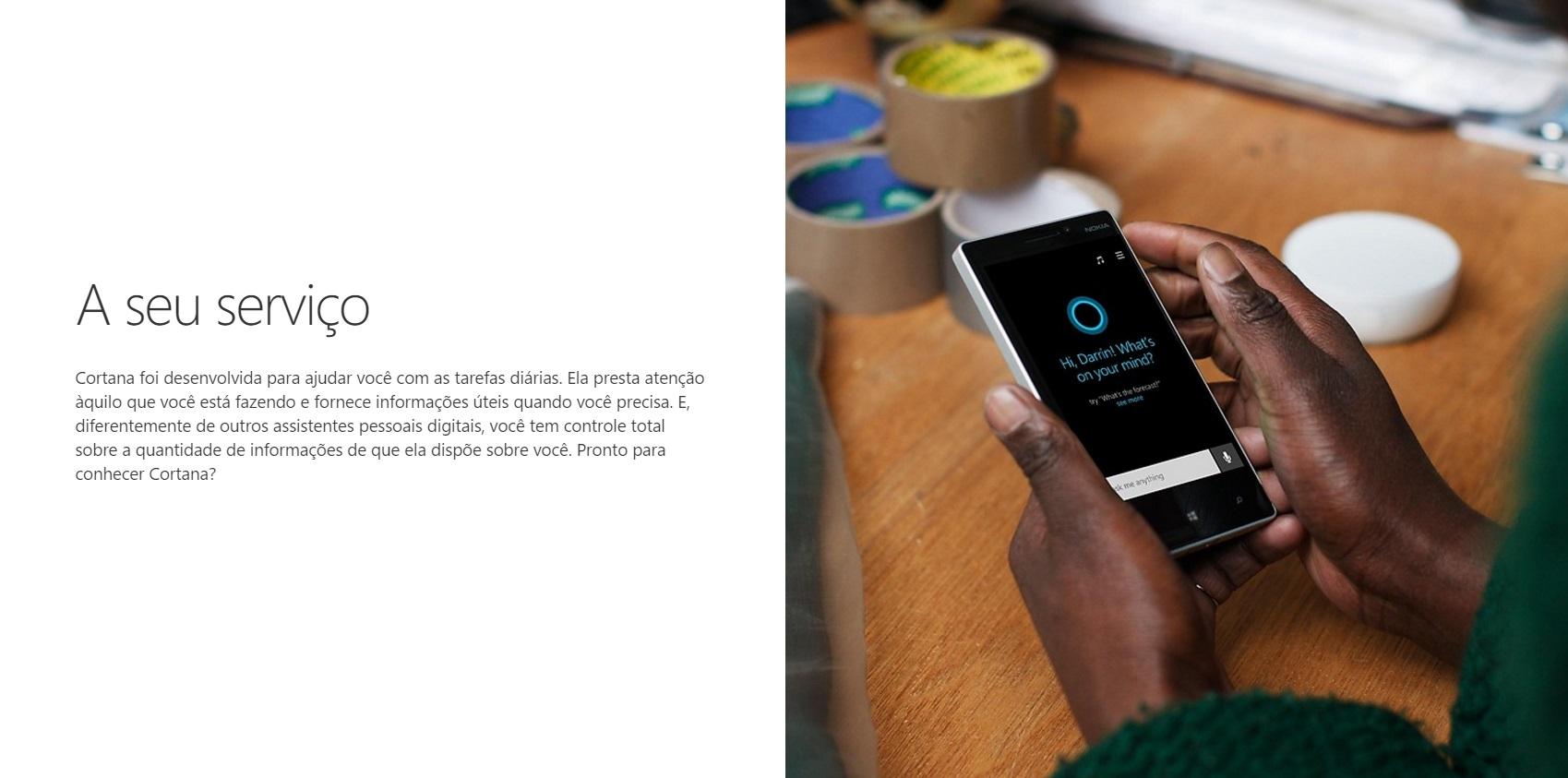 Cortana na Microsoft Brasil