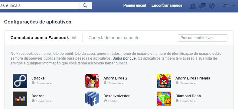 facebook e apps
