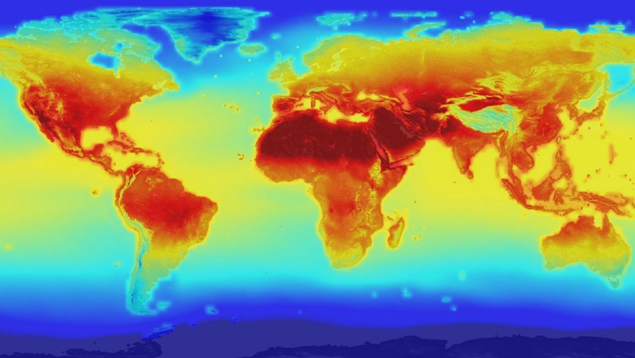 A previsão mostrada neste mapa de temperatura diária máxima veio de novos dados da NASA recentemente disponibilizados ao público. Ele mescla dados históricos e modelos climáticos para produzir previsões em alta resolução para o fim deste século.