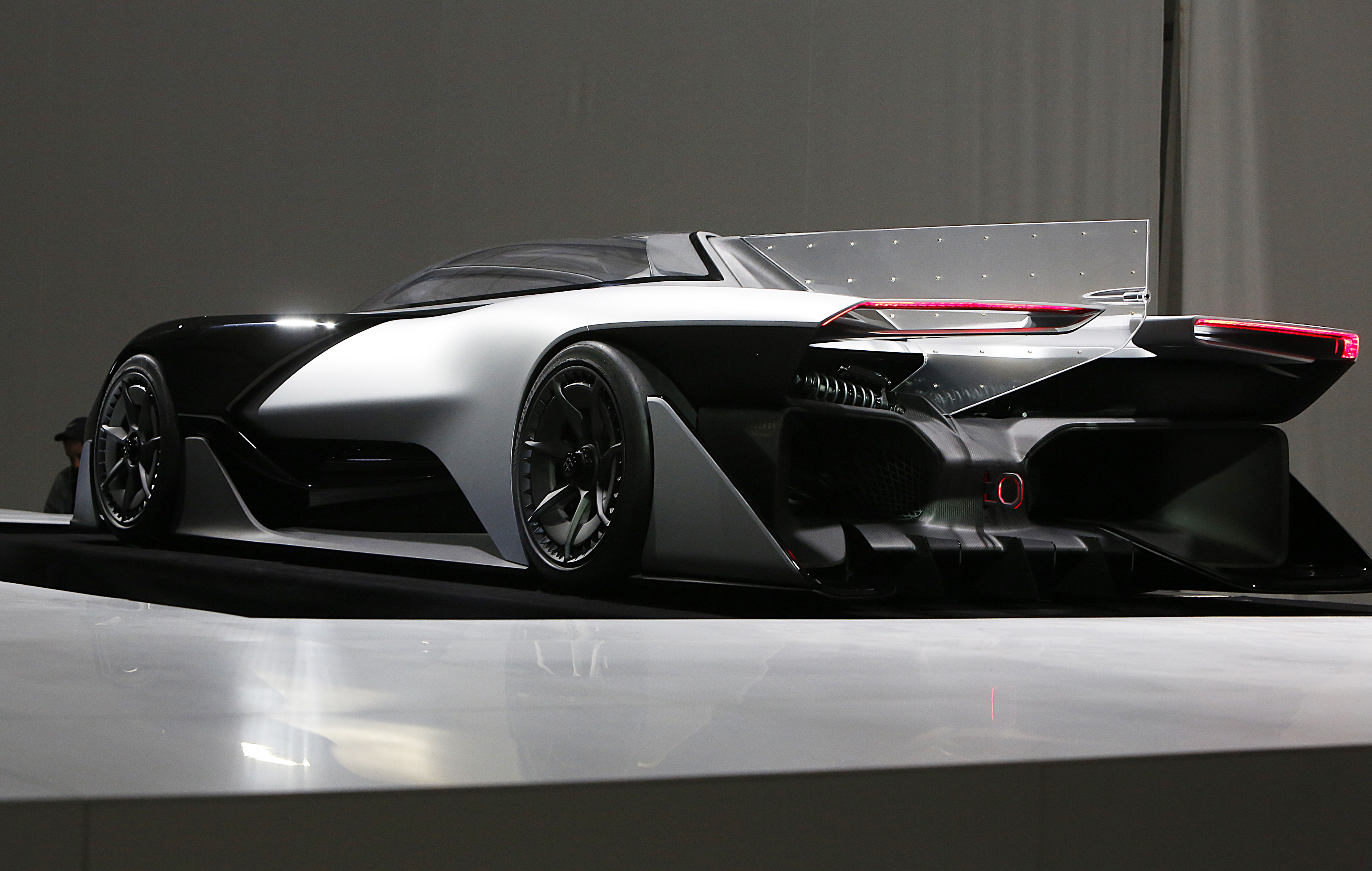 IMAGE DISTRIBUTED FOR FARADAY FUTURE - Faraday Future (FF) FFZERO1 Concept vehicle at FF's pre-CES reveal event in Las Vegas on Monday, Jan. 4, 2016. (Bizuayehu Tesfaye/ AP Images for Faraday Future)