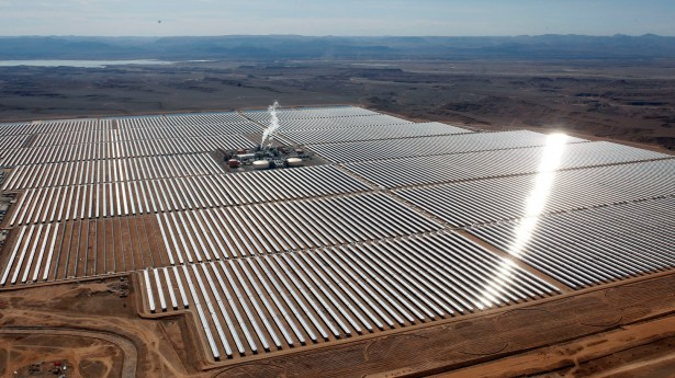 Aerial view of the solar plant of Ouarzazate, central Morocco, Thursday, Feb.4, 2016. Morocco unveils what's billed as the world's biggest solar plant, taking advantage of the Sahara sunshine and a growing push for renewable energy. (AP Photo/Abdeljalil Bounhar)