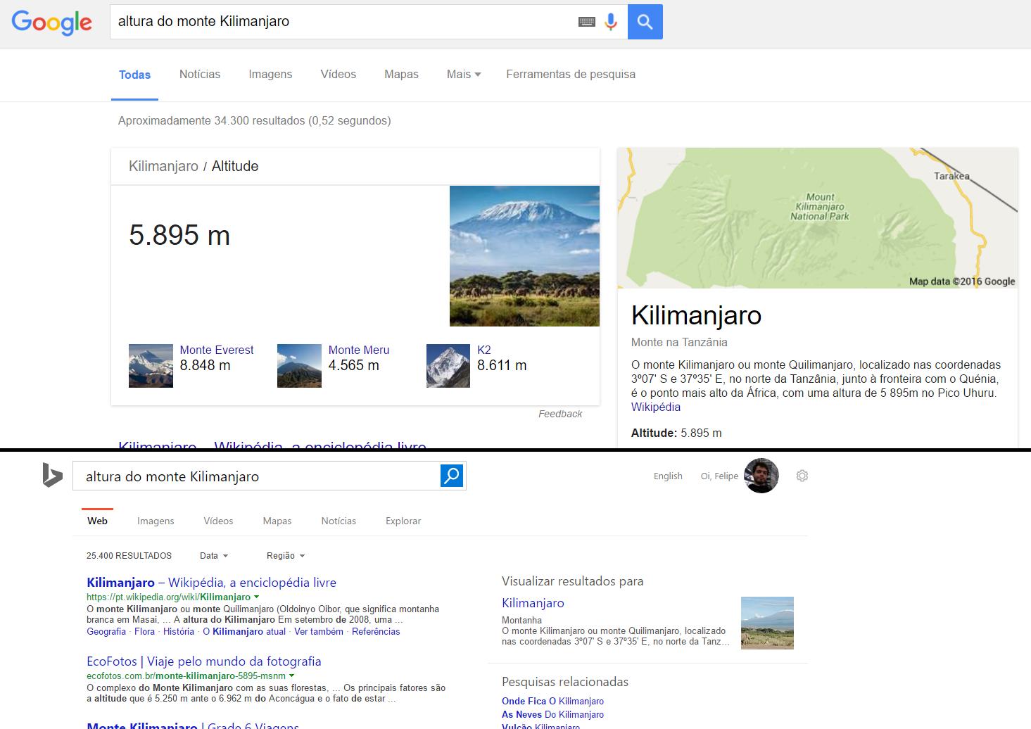 google vs bing kilimanjaro