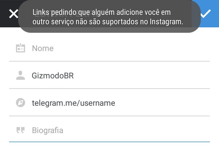 instagram bloqueio telegram